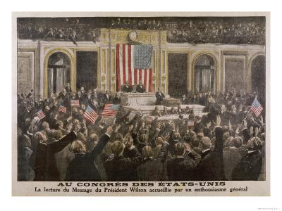 American President Woodrow Wilson Asks Congress to Declare War--Giclee Print