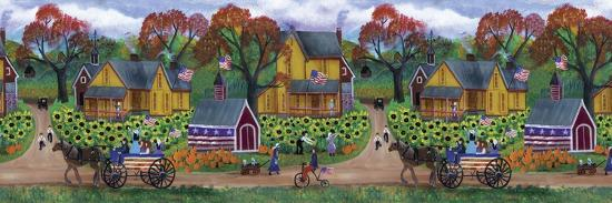 American Primitive Sunflower Pumpkin Farm Border-Cheryl Bartley-Giclee Print