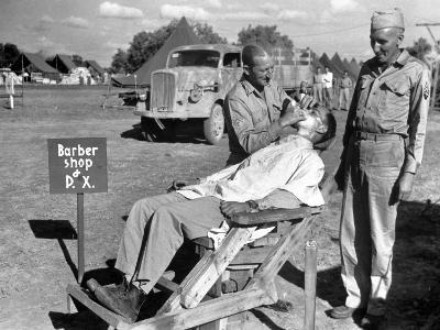 American Quartermaster Corpsman John Ralford, Designer of th Wooden Barber Chair-Margaret Bourke-White-Photographic Print