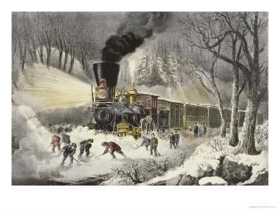 American Railroad Scene in Snow-Currier & Ives-Giclee Print