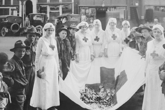 American Red Cross Workers During a Red Cross Parade-Stocktrek Images-Photographic Print