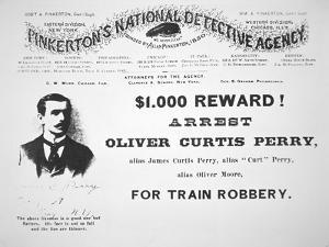 Reward Poster for the Arrest of Oliver Perry Issued by Pinkerton's National Detective Agency, 1891 by American