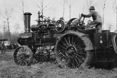 American Road Engine with Vapor Being Used as Tractor-Brothers Seeberger-Photographic Print