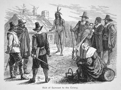 Samoset, Chief of the Pemaquids Visits the Pilgrim Fathers in 1621 (Litho)