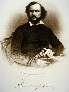 Samuel Colt Holding One of His Percussion Revolvers (Engraving) by American