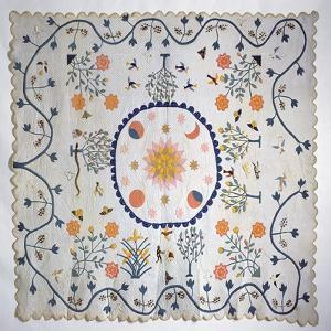 Applique Quilt with Sun, Moon, Stars and the Garden of Eden, from Arkansas, C.1890 by American School