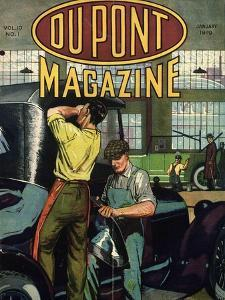 Automobile Repair, Front Cover of the 'Dupont Magazine', January 1919 by American School