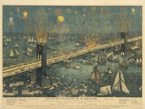 Bird's-Eye View of the Great New York and Brooklyn Bridge and Grand Display of Fireworks, 1883 by American School