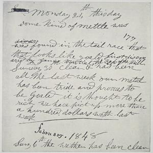 Diary Entry of Gold Prospector, 1848 by American School