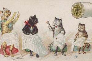 Four Busy Cats Sewing by American School
