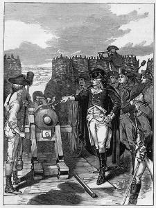 General George Washington and the first firing of the canon at the Siege of Yorktown in 1781 by American School
