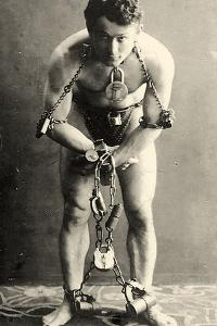Portrait of Harry Houdini in Chains. c.1900 by American School