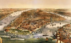 The City of New York, Published by Currier and Ives, 1870 by American School