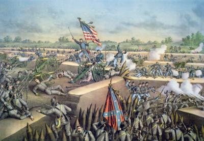 The Fall of Petersburg to the Union Army, 2nd April 1965, Engraved by Kurz and Allison, 1893 by American School