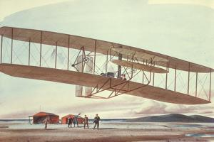 The Wright Brothers at Kitty Hawk, North Carolina, in 1903 by American School
