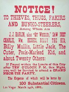 Vigilante Notice of 1882 by American School