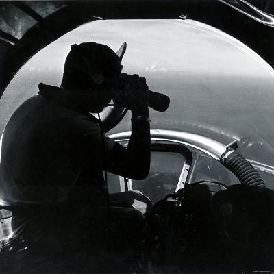 American Serviceman in Nose of B17 Using Binoculars to Scan Ocean During Air Sea Rescue Mission--Photographic Print