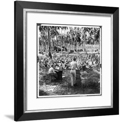 American Servicemen Celebrating Christmas on Guadalcanal During Religious Services-Ralph Morse-Framed Photographic Print