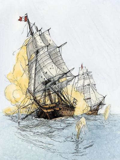 """American Ship """"Boston"""" Firing on """"Le Berceau"""" in an Undeclared Naval War with France, 1800--Giclee Print"""