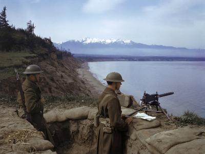 American Soldiers Guard the Coast with a Machine Gun in a Trench-Joseph Baylor Roberts-Photographic Print