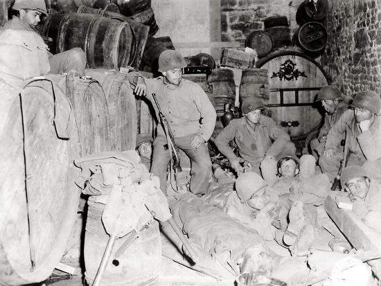 American Soldiers in a Basement with Barrels of Cider--Photographic Print