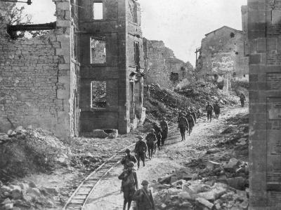 American Soldiers Passing Through the Ruins of Varennes, Meuse-Argonne Offensive, France, 1918--Giclee Print