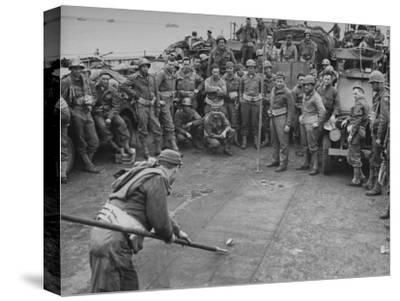 American Soldiers Playing Shuffleboard with Cans of Rations