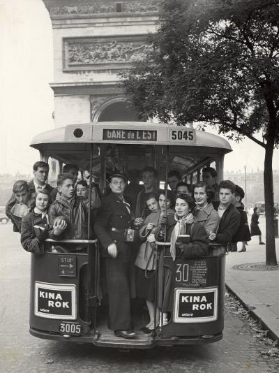 American Teenagers Riding Streetcar Towards Arc de Triomphe, Head Home-Gordon Parks-Photographic Print