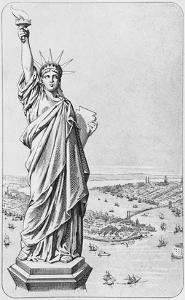 The Statue of Liberty, New York, C.1885 (Engraving) (B/W Photo) by American
