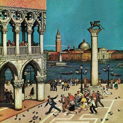 """""""American Tourists in Venice,"""" June 10, 1961-Amos Sewell-Giclee Print"""