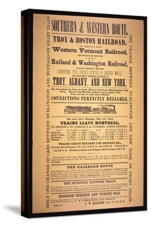 Train Poster for the Southern and Western Route, 1854 (Litho)