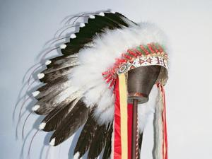 Tribal Headdress, Sioux Tribe (Textile and Feathers) by American