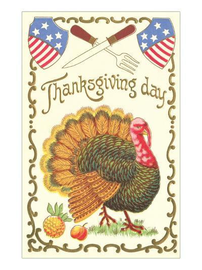 American Turkey, Knife and Fork--Art Print