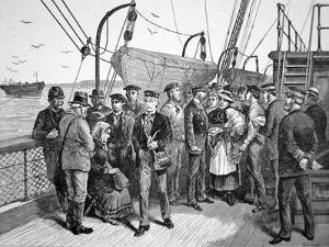 Us Government Health Officers on an Emigrant Ship, Quarantine Point, New York, 1887 (Engraving) by American