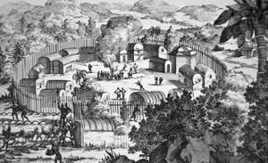 Village of the Susquehanna People, Susquehanna River (Engraving) by American