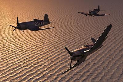 American Vought F4U Corsair Aircraft in Flight During World War Ii--Art Print
