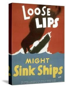 American WWII Poster, Loose Lips Might Sink Ships