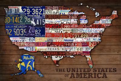 Americana - License Plate Map-Lantern Press-Art Print