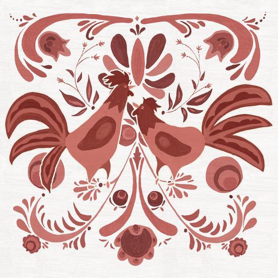 Americana Roosters II Red-Wild Apple Portfolio-Art Print