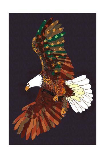 Americana - Soaring Eagle-Lantern Press-Art Print