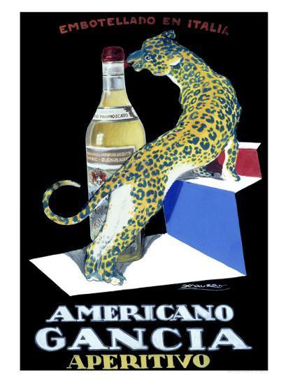 Americano Gancia Apertivo-Achille Luciano Mauzan-Giclee Print