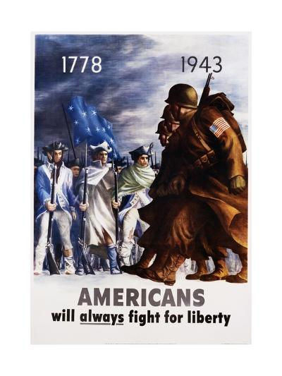 Americans Will Always Fight for Liberty Poster-Bernard Perlin-Giclee Print