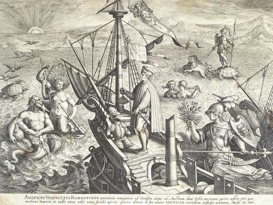 Amerigo Vespucci Sailing Towards America--Giclee Print