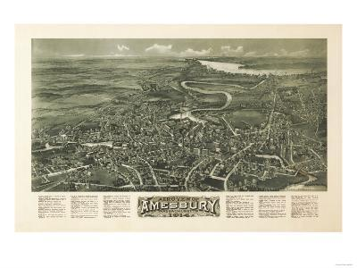 Amesbury, Massachusetts - Panoramic Map-Lantern Press-Art Print