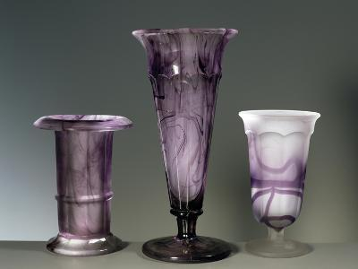 Amethyst Colored Glass Vases--Giclee Print