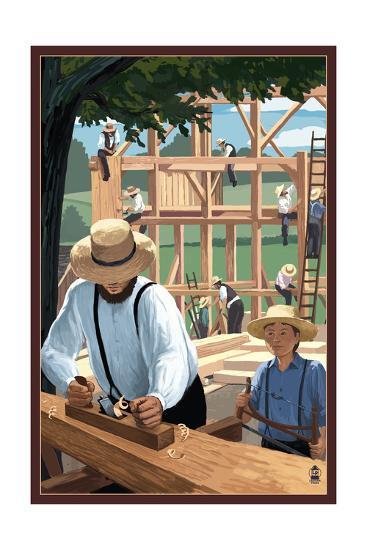 Amish Barnraising Scene-Lantern Press-Art Print