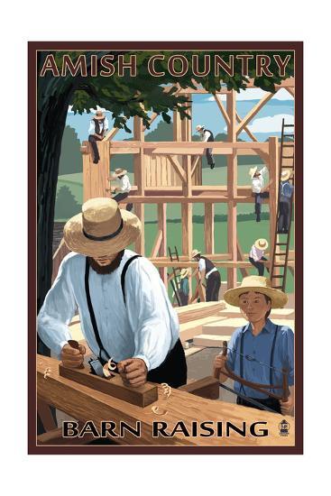 Amish Country - Barn Raising-Lantern Press-Art Print