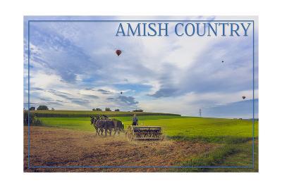 Amish Country - Farmer and Hot Air Balloons-Lantern Press-Art Print