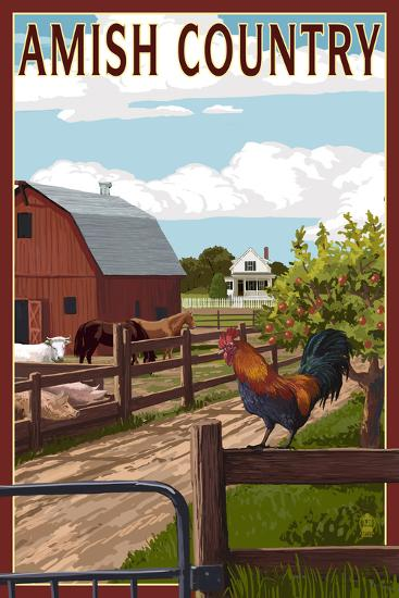 Amish Country - Farmyard Scene-Lantern Press-Art Print
