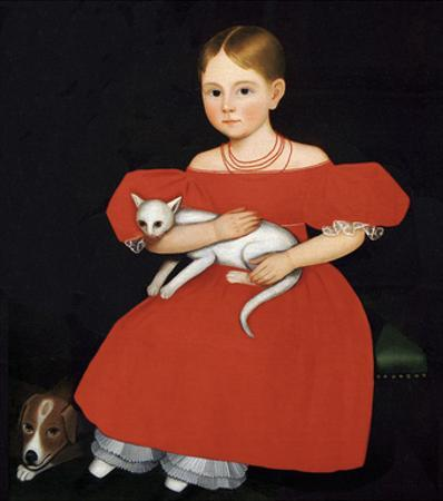 Girl in Red Dress with Cat and Dog, 1830-1835 by Ammi Phillips